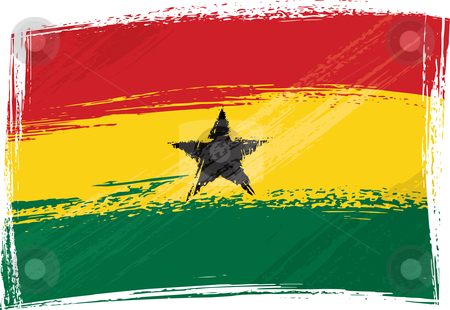 Grunge Ghana flag stock vector clipart, Ghana national flag created in grunge style by Oxygen64