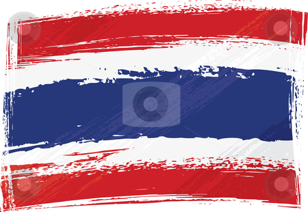 Grunge Thailand flag stock vector clipart, Thailand national flag created in grunge style by Oxygen64