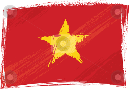 Grunge Vietnam flag stock vector clipart, Vietnam national flag created in grunge style by Oxygen64
