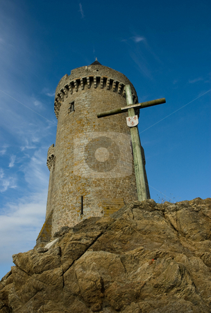SOLIDOR & CROSS stock photo, Historic vantage point in St. Malo France from which invading pirate ships could be seen and guarded against their sailors attempts to land! by Elf Evans