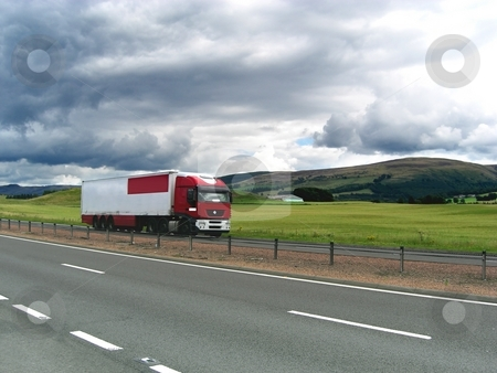 Lorry on the road stock photo, Lorry on the road by Juliet Photography