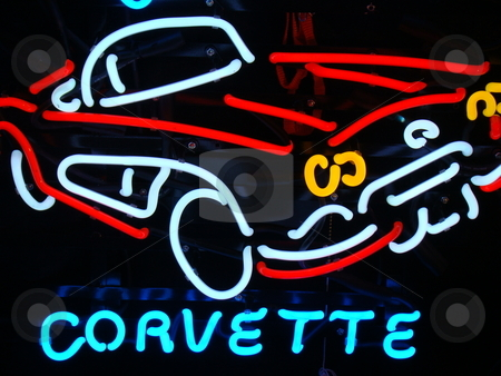 Corvette stock photo, Corvette neon sign by CHERYL LAFOND