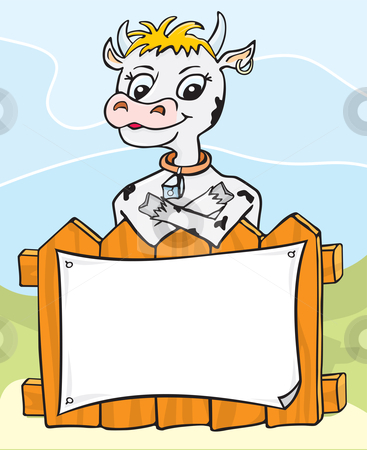 Friendly cow stock vector clipart, Illustration of a happy cow behind fence with blank page by Oxygen64