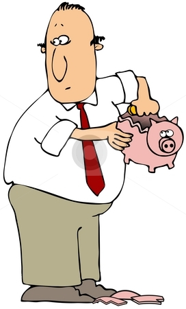 Breaking The Piggy Bank stock photo, This illustration depicts a man taking money from a broken piggy bank. by Dennis Cox