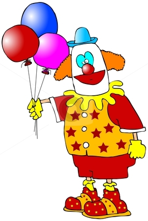 Clown With Balloons stock photo, This illustration depicts a clown holding a bunch of balloons. by Dennis Cox