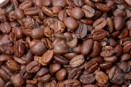 Fresh coffee beans stock photo, Studio close up of hundreds of coffee beans by Joanna Szycik