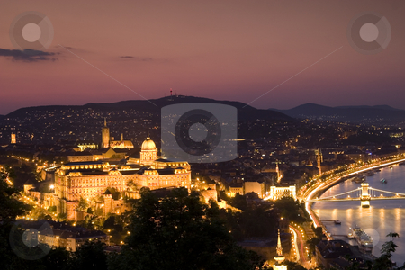 Budapest stock photo, Budapest panorama by nightfall by Fesus Robert
