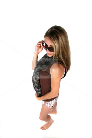Stylish teen stock photo, Teen looking over sunglasses and wearing a scarf, picture taken from above by Sue and Shawn Roberts