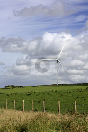Windmill stock photo, Landsape with modern windmill - power generator. by Juliet Photography