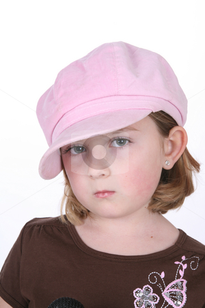 Pretty pouting child stock photo, Pretty little girl in a big pink hat with beautiful eyes and a pout. by Sue and Shawn Roberts