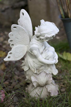 Fairy stock photo, Fairy sitting and thinking by Juliet Photography