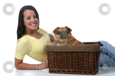 Cute teen with small dog stock photo, Cute teenage girl with small dog in basket by Sue and Shawn Roberts