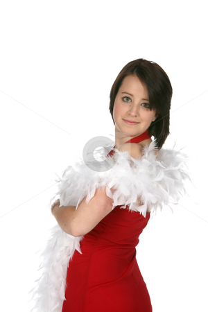 Teen with feather boa stock photo, Teenage girl with red dress and white feather boa by Sue and Shawn Roberts