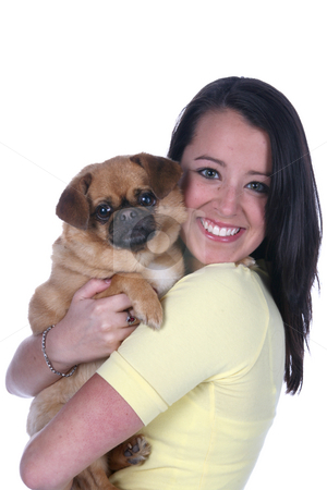Pretty teen and her dog stock photo, Pretty teen holding her dog by Sue and Shawn Roberts