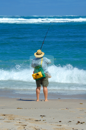 Beach Fishing stock photo, Beach fishing at Point Labat, South Australia by Irene Scales