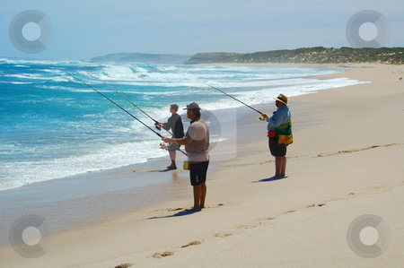 Beach Fishing Together stock photo, The men beach fishing at Point Labat, South Australia by Irene Scales
