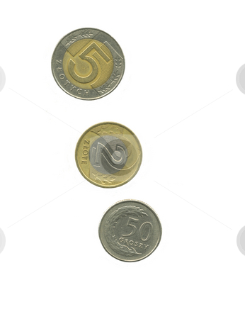Polish money  stock photo, Polish coins Zloty isolated on white by Laurent Dambies