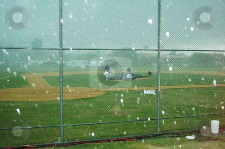 Hailing at Baseball stock photo, A freak hailstorm at the Pan Pacific Masters Games at the Gold Coast in Queensland, Australia by Irene Scales