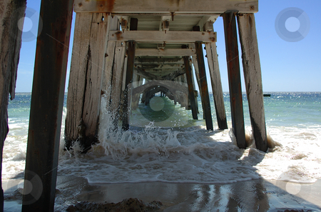 Under the Jetty stock photo, Under the Port Rickaby jetty, South Australia by Irene Scales