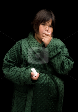Child With The Flu stock photo, A young female child coming down with the flu by Richard Nelson