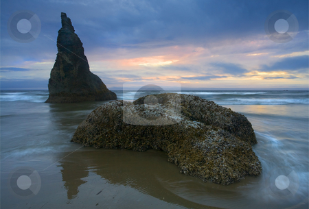 PAstel Illusions stock photo, A pastel sky that only lasted for a moment on a mostly stormy night along the Oregon coast near Bandon by Mike Dawson