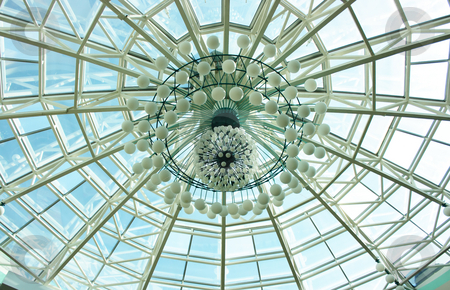 Decoration of shopping center dome stock photo, Abstract radial decoration of a shopping center dome by Natalia Macheda