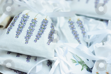 Embroidery stock photo, Embroidery on fragrant linen bags with dried lavender inside by Natalia Macheda