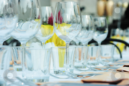 Table setting stock photo, Beautiful table setting for many people outdoors by Natalia Macheda