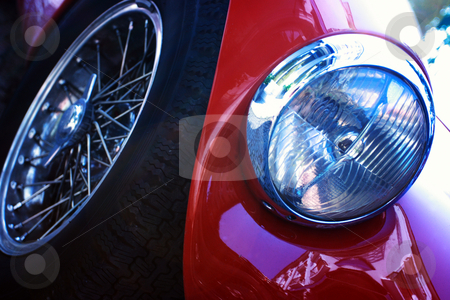 Abstract car stock photo, Abstract composition of car details: headlight and wheel by Natalia Macheda