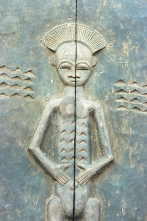 African bas-relief stock photo, Ancient bas-relief typical to central Africa by Natalia Macheda