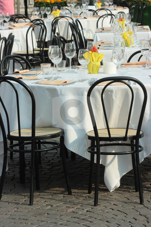 Table setting stock photo, Beautifully decorated tables for many people outdoors by Natalia Macheda