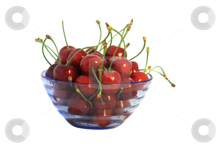 Cherry fruits in blue vase stock photo, Ripe cherry fruits in a blue transparent vase by Natalia Macheda