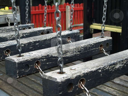 The Wobbly Bridge stock photo, A wobbly bridge in a kids park. by ANDREW NORRIS