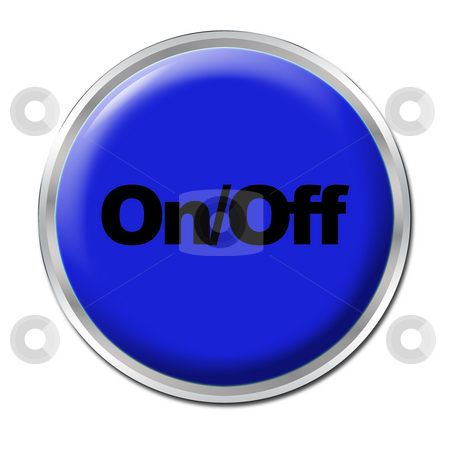 On/Off Button stock photo, Blue round button with the symbol On/Off by Petr Koudelka