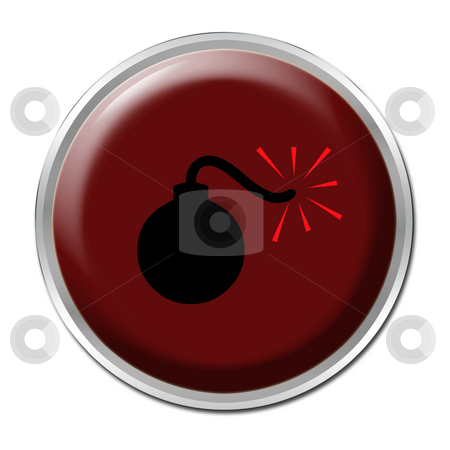 Bomb Button stock photo, Red button with a picture of a bomb by Petr Koudelka