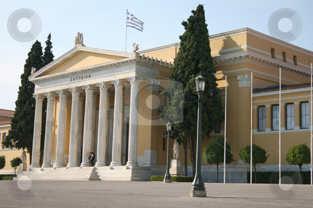 Noclassical buildind stock photo, Entrance neoclassical building of zapion landmarks of athens greece by EVANGELOS THOMAIDIS