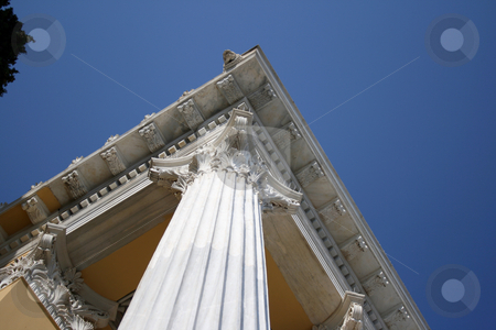 Pillars and blue sky stock photo, Roof detail and pillars and blue sky from zapeion building landmarks of athens greece by EVANGELOS THOMAIDIS