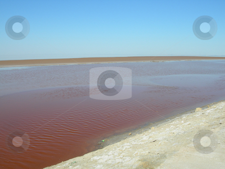 Red salt lake stock photo, Red salt lake landmarks of tunisia africa by EVANGELOS THOMAIDIS