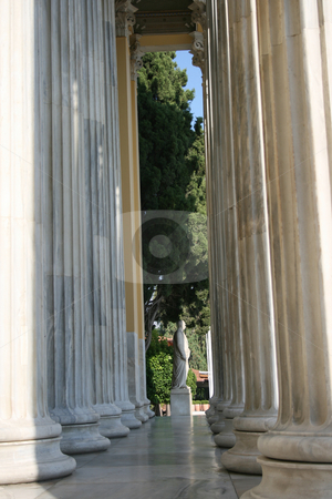 Pillars and statue stock photo, Pillar and statue background from zapeion building landmarks of athens greece by EVANGELOS THOMAIDIS