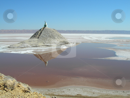 Reflections in water stock photo, Red salt lake and blue sky landmarks of tunisia africa by EVANGELOS THOMAIDIS