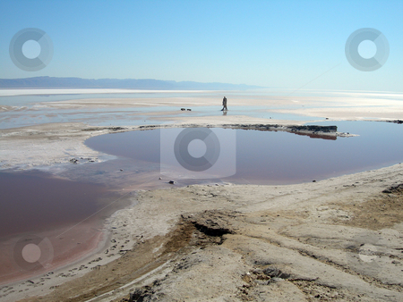 Lake and blue sky stock photo, Red salt lake and blue sky landmarks of tunisia africa by EVANGELOS THOMAIDIS