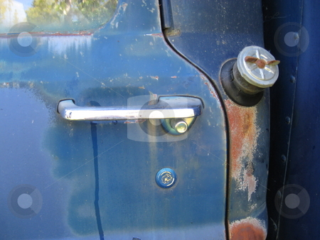 Rusted Blue Truck stock photo, Detail of rusted blue truck door by Becky Miller