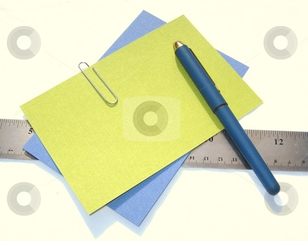 Office supplies stock photo, Pen, papers, and ruler against white background by Becky Miller