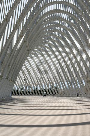 Agora athens stock photo, Detail from modern metallic structure of agora olympic stadium athens greece by EVANGELOS THOMAIDIS