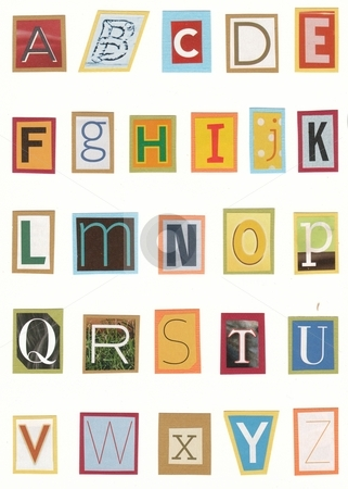 Colorful alphabet stock photo, Handmade magazine alphabet on white background by Becky Miller