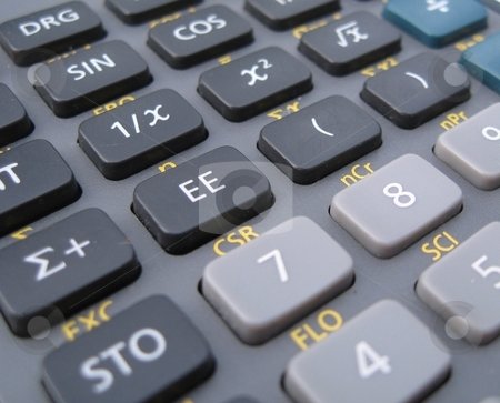 Calculator detail stock photo, Close up of scientific calculator by Becky Miller
