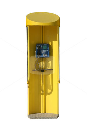 Phone booth stock photo, Yellow public phone booth isolated with clipping path by EVANGELOS THOMAIDIS