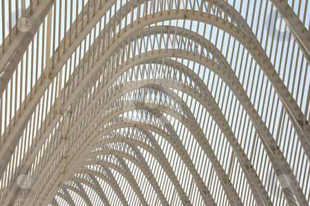 Modern structure stock photo, Detail from modern metallic stucture of agora olympic stadium athens greece by EVANGELOS THOMAIDIS