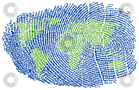 World Fingerprint stock vector clipart, World Map represented in a Fingerprint by Adrian Sawvel
