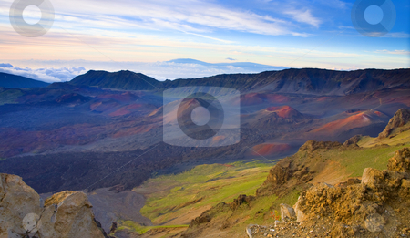 Craters of PAradise stock photo, The crater of Haleakala on Maui not long after Dawn with numerous vents and lava domes dotted across the creater. Mauna Loa and Mauna Kea loom in the distance on the big island of Hawaii. by Mike Dawson